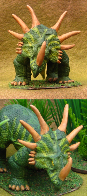 Two views of a 28mm Styracosaurus