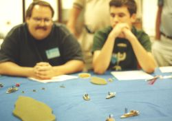 Union captains (Corey to the right) watch the action...