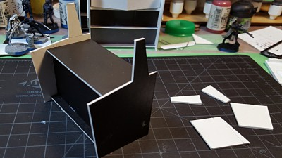 Basic assembly done, front wall and roof in place. See text for details, and click for larger.