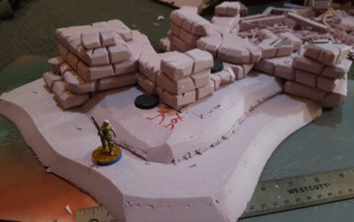Sloped end of the latest hill, with Daylami on a 25mm base for scale. Click for larger.