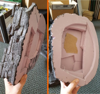 Underside of the two hills, showing layers and pieces of styrofoam. Click for larger.