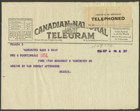 1926 Canadian National Telegraph Form