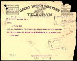 Great North Western Telegram from 1917