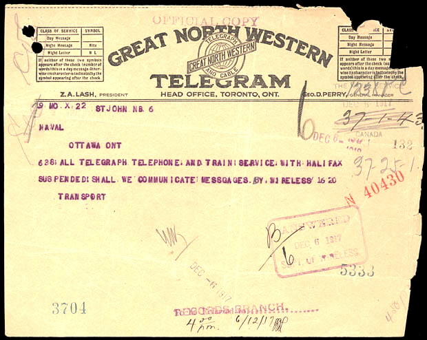 Great north western telegram after the 1917 halifax explosion